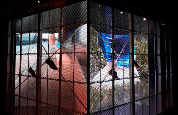 Escaparate digital llevado a la feria Architect@work de Barcelona por Led Dream