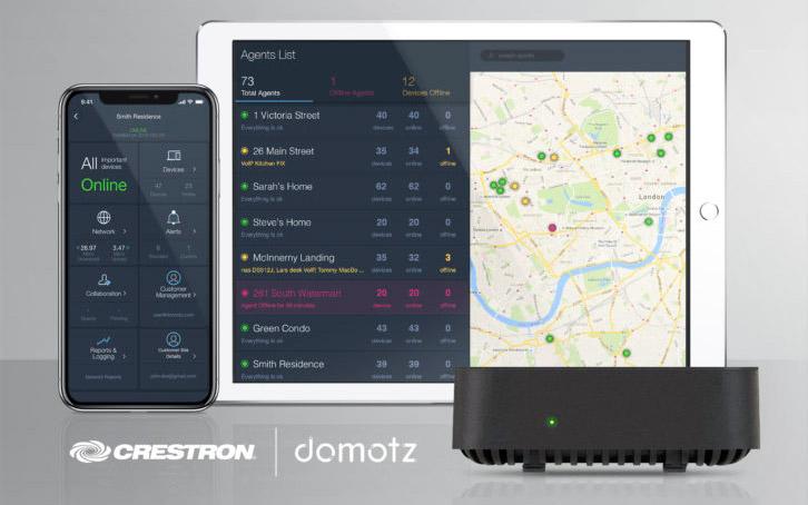 Imagen promocional que anuncia el acuerdo entre Crestron y Domotz