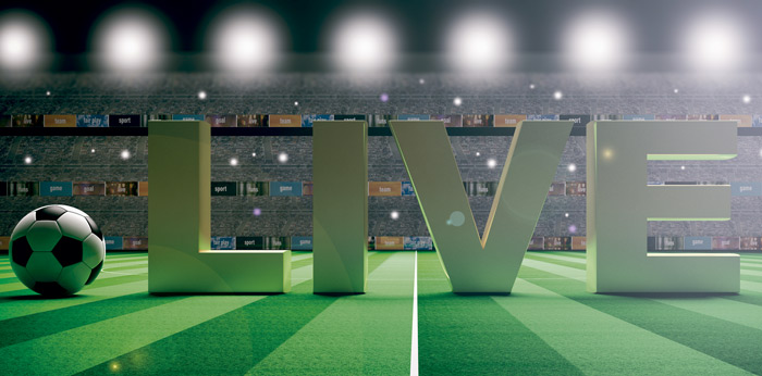 Letrero que señala la emisión en directo de un encuentro de fútbol