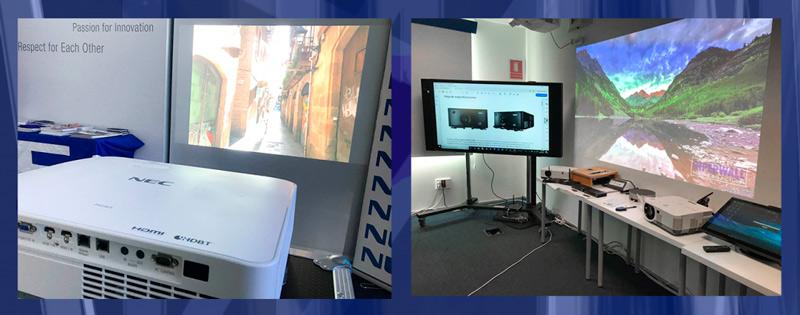 Diferentes proyectores NEC en funcionamiento en la jornada de puertas abiertas de Estalella Audiovisual