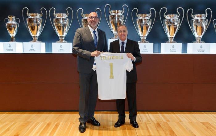 Florentino Pérez y Emilio Gayo de Real Madrid y Telefónica España, respectivamente