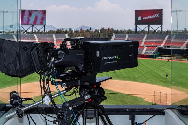 Cámara broadcast en el estadio de los Diablos Rojos