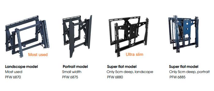 Los cuatro modelos que componen el sistema pop out de Vogel's