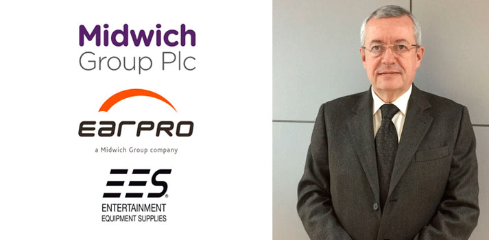 Fotografía de Miguel Mezquita de earpro acompañado de los logos de la compañía, EES y Midwich group
