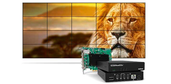 El dispositivo QuadHead2Go de Matrox alimentando un videowall