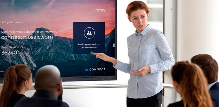 Imagen promocional de la Collaboration Board Series de NEC