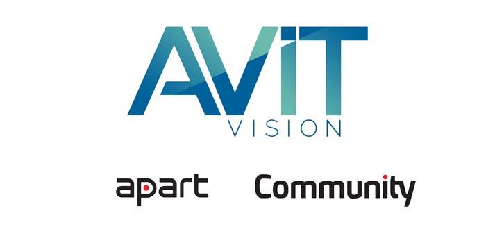 Logos de AVIT Vision, Apart Audio y Community Loudspeakers