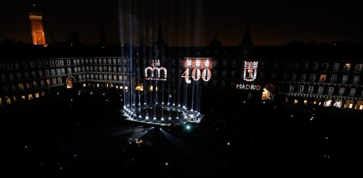 Proyección videomapping creada por G-AV Technologies en la Plaza Mayor con proyectores Panasonic. Foto: Diario Madrid - Ayuntamiento de Madrid