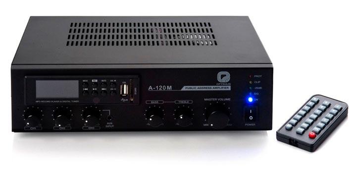Imagen frontal del amplificador A-120M de Optimus