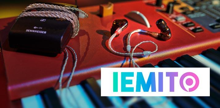 Logotipo de IEMITO junto a un dispositivo IE 500 PRO de Sennheiser