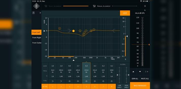 Captura de pantalla del modo manual de la App Neumann.Control
