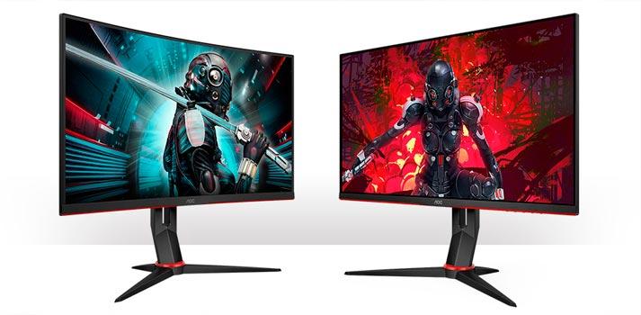 Dos de los nuevos monitores gaming de AOC: CQ27G2U curvo y Q27G2U