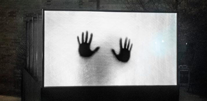 """Película """"Welcome"""" reproducida en el lienzo 3D """"nueveojos"""""""