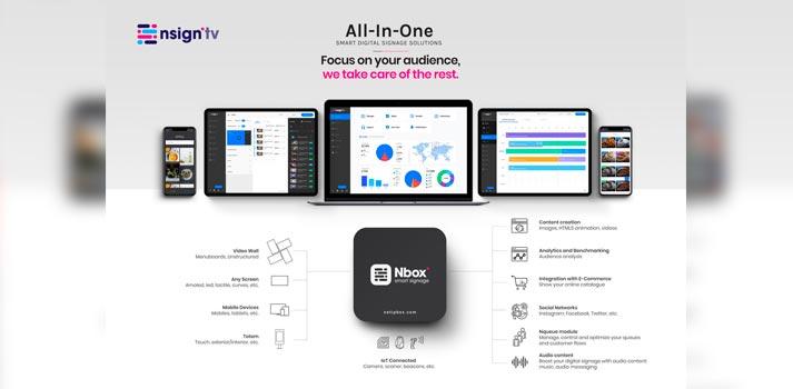 Sistema nsign.tv de Netipbox acompañado del dispositivo Nbox