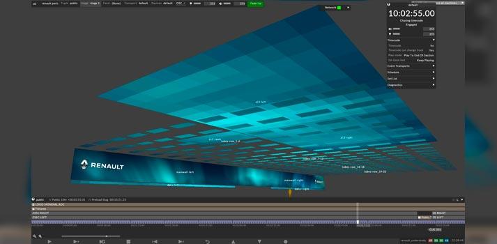 Render del proyecto de iluminación y pantallas integrado en el software de disguise