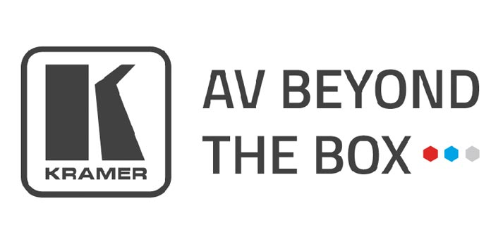 "Logotipo de Kramer con eslogan ""AV Beyond The Box"""