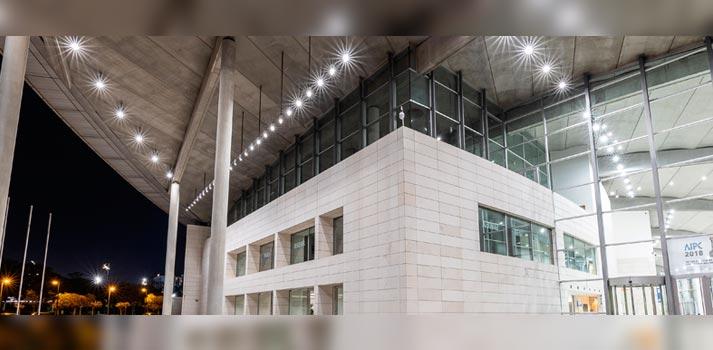 Algunas de las nuevas luces led implementadas en el Palacio de Congresos de Valencia