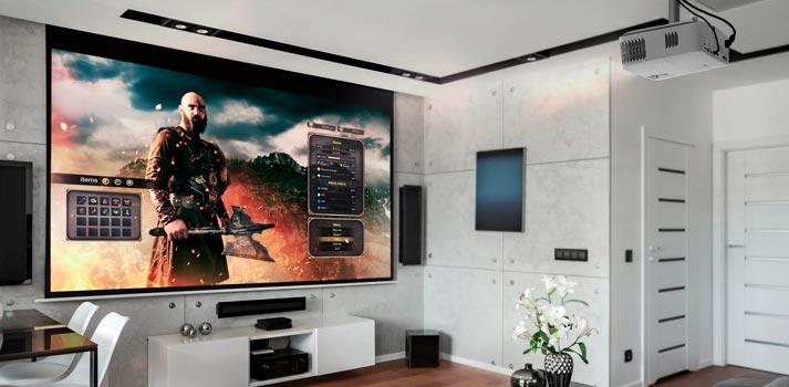 Proyector UHD50X de Optoma funcionando en un entorno doméstico