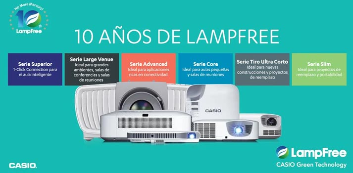 Décimo aniversario proyectores Casio lampfree