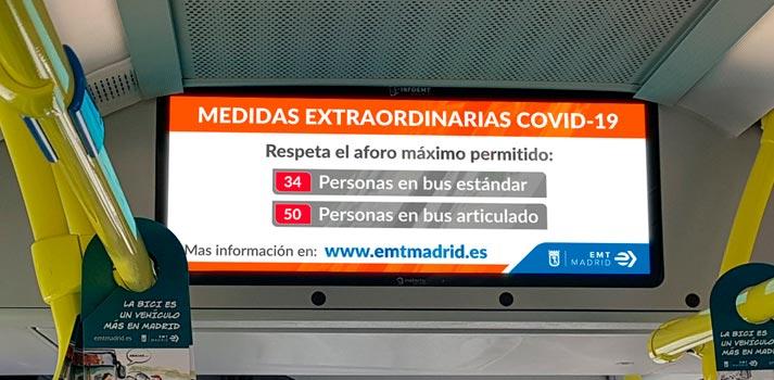 Sistema Deneva de Icon Multimedia funcionando en uno de los autobuses de la EMT