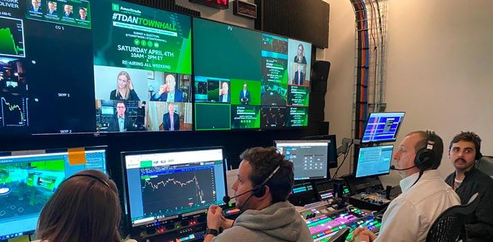 Sala de control desde la que se ha producido el evento online de TD Ameritrade por BMG y Brainstorm