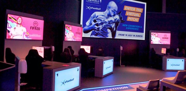 Espacio dedicado a los esports de Mediapro Exhibitions en el Museo de la FIFA