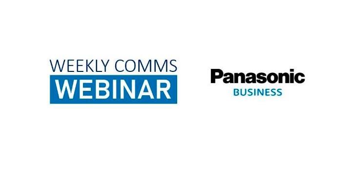 """Logo de la serie de semnarios web """"Weekly Comms Webinar"""" de Panasonic Business"""