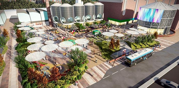 Render de la zona de ocio del espacio comercial La Torre Outlet Zaragoza, que abrirá sus puertas en octubre