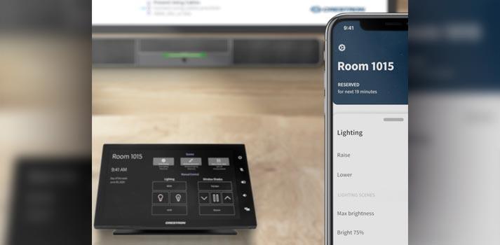 Ejemplo de interacción con la app Crestron One