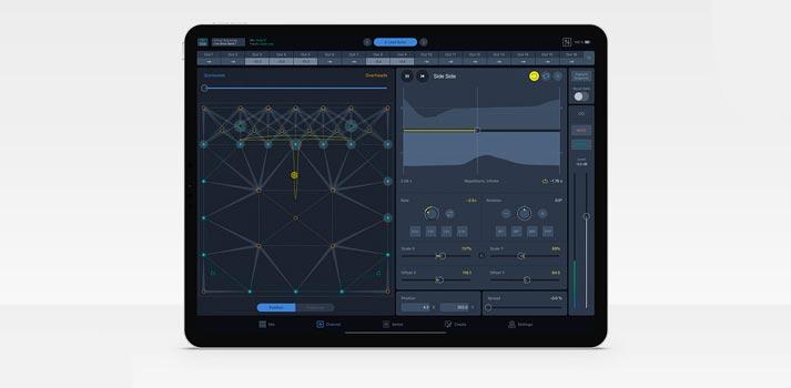 Herramienta Spacemap Go para Ipad diseñada por Meyer Sound - Interfaz de usuario