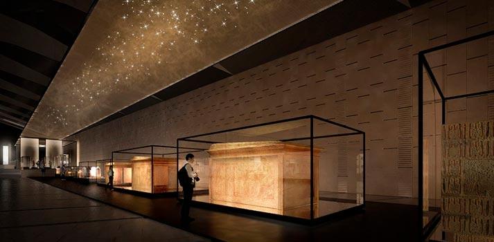 Una de las salas del nuevo Museo Egipcio de El Cairo, un desarrollo de Acciona Ingeniería Cultural
