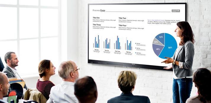 Pantalla Avit Vision Hisense implementada en un entorno corporate
