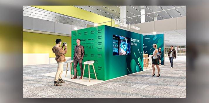 Proyección del stand de Telefónica Empresas en Tourism Innovation Summit 2020