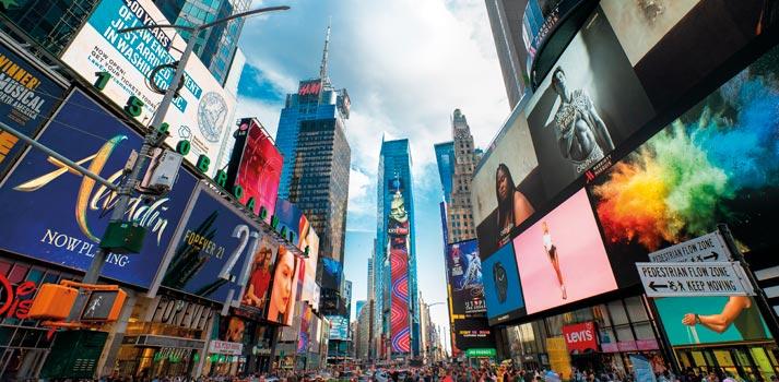 Elementos de Señalización Digital (Digital Signage) en Nueva York (Times Square)
