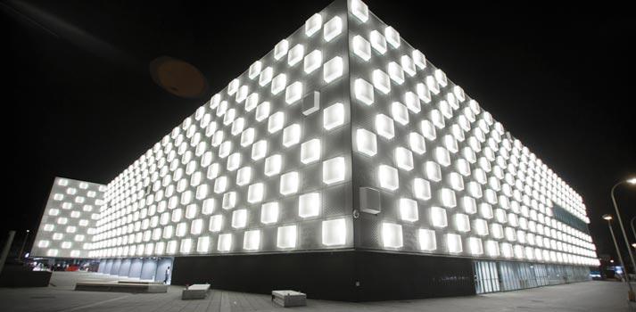 Exterior del Navarra Arena - Noche