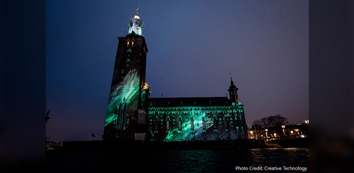 Mapping Estocolmo con proyectores de Panasonic