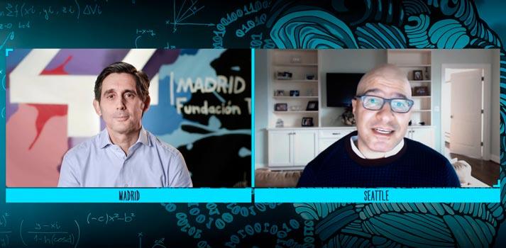 Videoconferencia entre José María Álvarez-Pallete (Telefónica) y Hadi Partovi (Code.org)